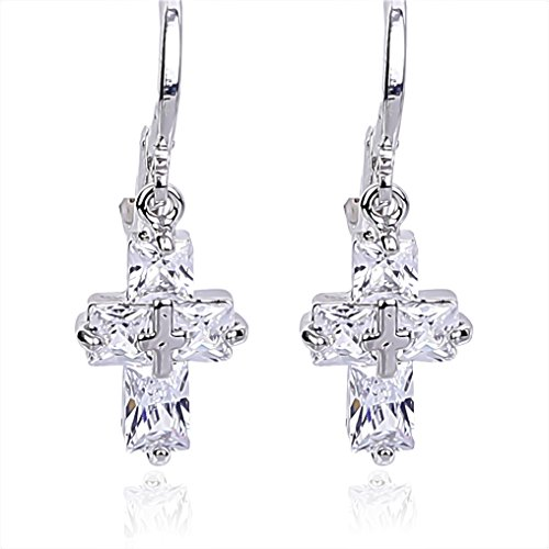 - NickAngelo's Christian Cross Earrings Drop Dangle 18K White Gold Plated Fashion Religious Jewelry For Women