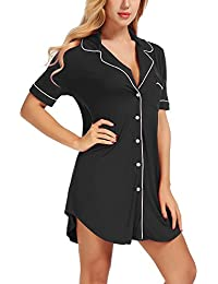 Women s Sexy Short Sleeve Nightshirt Comfy Pajama Top Button Nightie  Sleepwear ef00780a9