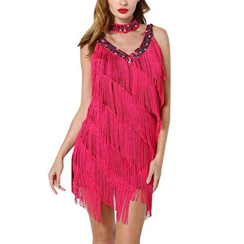 Aniywn Latin Dance Dress, Women Ladies Deep V-Neck Sequins Tassel Dance Cocktail Fringe Flapper Dress Hot Pink