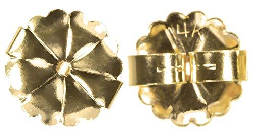 (Solid 14K Gold Extra Jumbo Fancy Earring Back Star Burst 10mm 1-Pair)