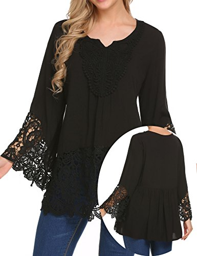 Teewanna Womens Ethnic Print Casual Flare Sleeve Hollow Out Bohemian Blouse T-Shirt Tops Black L