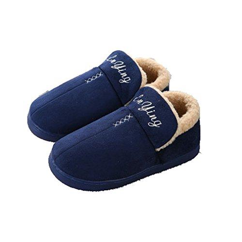Giy Inverno Caldo Donne / Uomini Coppie Pantofole Ecopelle Scamosciata Coperta Soffici Pantofole Di Famiglia Zoccoli Pantofole Peluche Blu Scuro
