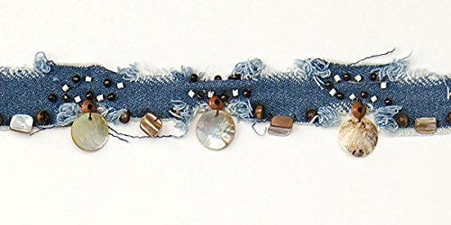 Natural Beads Shells Wood (Expo International Denim Trim with Shells and Beads, 10 yd., Natural)