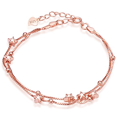 (Infinite U Women's Lovely Stars Beads Link Charm Bracelet 925 Sterling Silver Double Strands Chains with Extension, Rose Gold)