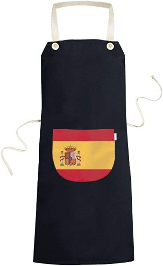 BeatCong españa Bandera Nacional símbolo Europa país Modelo del Signo de cocción de la Cocina Negro Bib Delantal con Bolsillo para los Regalos de Las Mujeres de los Hombres del Cocinero: Amazon.es: