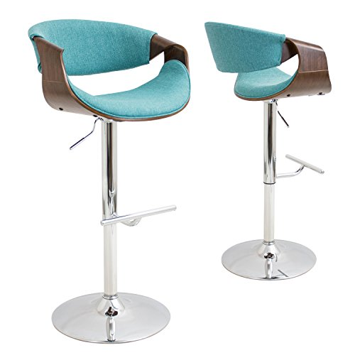 WOYBR BS-CURVO WL+TL Wood, Chrome, Polyester Fabric, Foam, Curvo Barstool Review