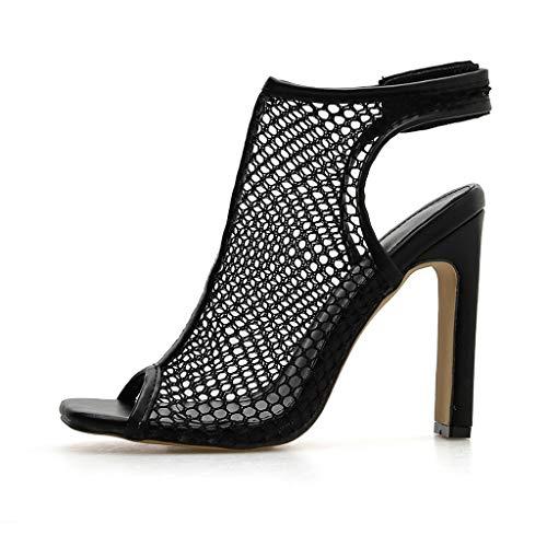 LIM&Shop Women's Ankle Strap Platform Pump Party Dress High Heel Open Toe Mesh Zip Back Sandal Wedge Shoes Ankle - Pump Eel
