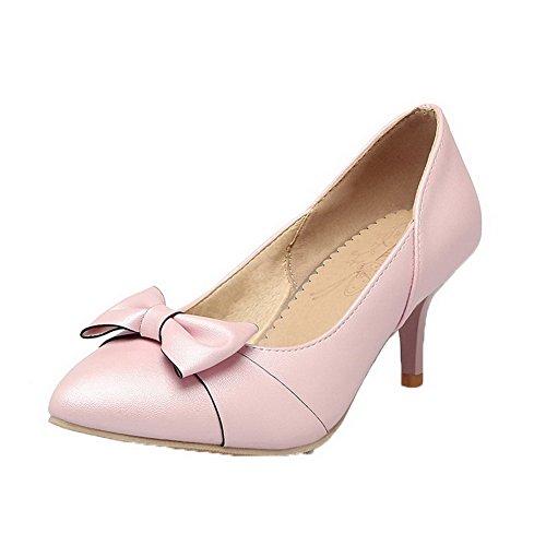 Korkokenkiä Naisten pu kengät Suljetun Pull Toe Amoonyfashion Pinkki Huomautti Solid Pumput wRxYZdnP