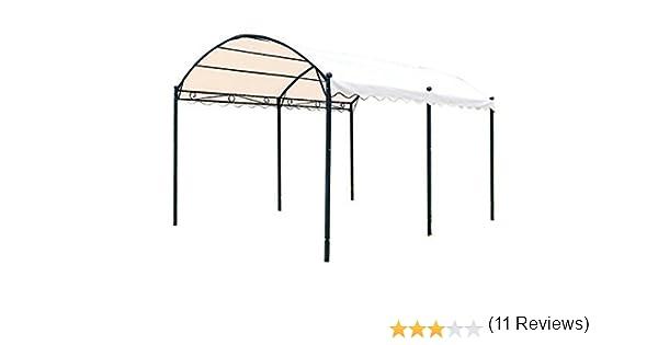 Cenador en forma de túnel, 3 x 4 m, hecho de hierro con lona de color crudo, resistente al sol, para jardín: Amazon.es: Hogar