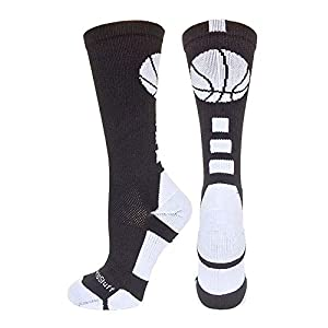 MadSportsStuff Basketball Socks with Basketball Logo Athletic Crew Socks – Made in The USA