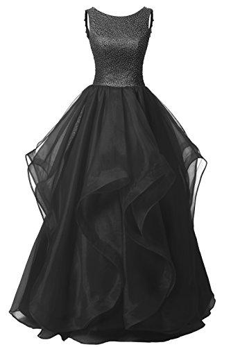 dresstells-long-prom-dress-asymmetric-ball-gown-evening-gown-beads-organza-gown-black-size-6