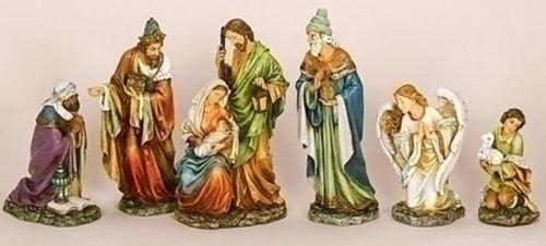 CHRISTMAS DECORATIONS - ''UNTO US A CHILD IS BORN'' 6-PIECE NATIVITY SET - 16.75'H