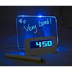 EONSMN LED Digital Alarm Clock, Smart Fluorescent Light Message Board, 4-Port USB Battery Powered, Calendar Snooze Desk Clock (Blue)