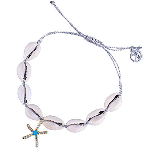 KELITCH Natural Starfish Shell Cowry Friendship Bracelets Peace Icon Strand Bracelets Seashell Charm Jewelry (Starfish Silver)