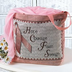 [Breast Cancer Pink Ribbon Tapestry Tote] (Ribbon Tote)