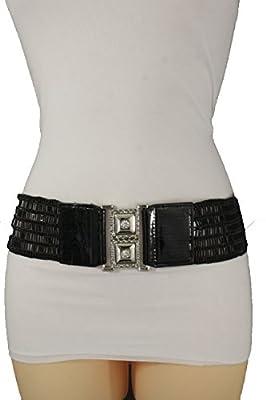 TFJ Women's Wide Fashion Belt Hip High Waist Silver Metal Buckle S M L Black Beads