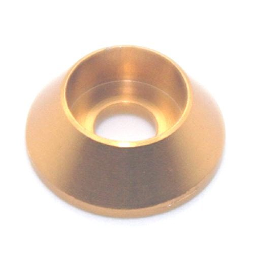 50PCS M4 Cone Washer Aluminum Alloy Cone Cup Head Screw Gasket Conical Countersunk Fender Washer (Gold) by JLM (Image #1)