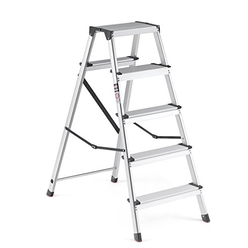 Delxo Upgrade Lightweight 5 Step Stool Heavy Duty Aluminum Step Ladder with Anti-Slip Widen Pedals Safe Metal Straps Lock Design Multi-Use Ladder for Home or Office 330lbs Capacity Space Saving 5-Feet