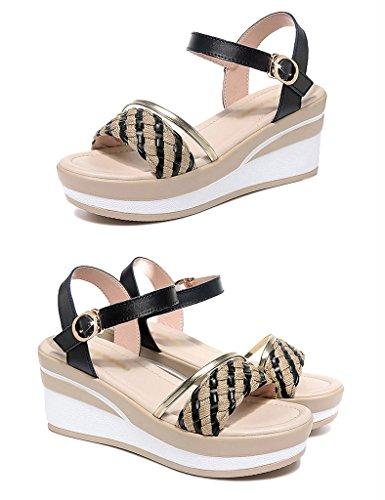 femme Hauts Chaussures Eté Femme Taille Couleur Talons Noir HWF 35 Chaussures Femme Sandales Noir pqAq64nR