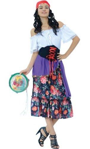 Gypsy Fortune Teller 4pc Fancy Dress Costume Size US 12-14