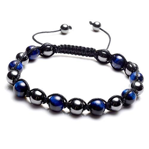 MANIFO Magnetic Stone w/Natural Blue Tiger Eye Gemstone Hematite Magnetic Therapy Bracelets, Pain Stress - Bracelet Pain Balance $10