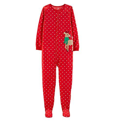 Price comparison product image Carter's Girls' Zippered Fleece One-Piece Footie Pajamas (Reindeer / Green Scarf