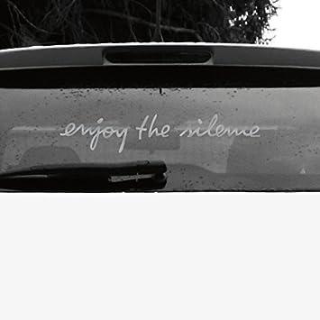 Greenit Schriftzug Enjoy The Silence Aufkleber Tattoo Die Cut Car Decal Auto Heck Deko Folie Depeche Mode Silber Invers Auto
