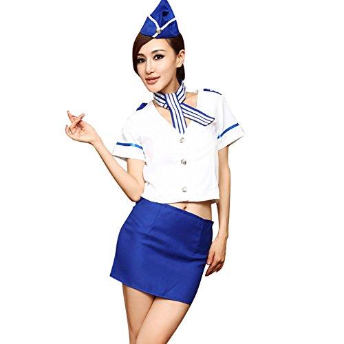 4 Release Women's Sexy Nautical & Airline Stewardess Costume Set (Sexy Nautical Costume)