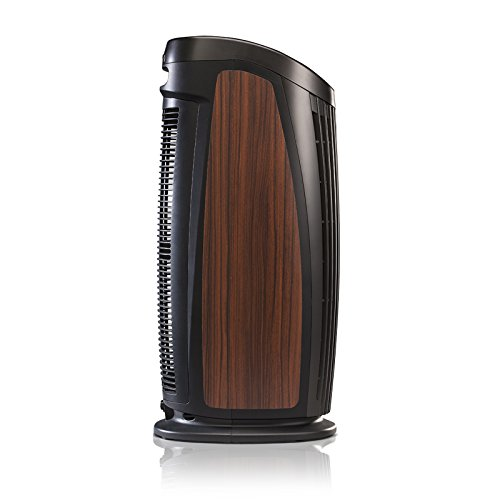 Quality! Compact! Power! For life! Alen T500 Designer Tower Air Purifier HEPA-Silver Filter, 500 Sq. Ft., in Black with Rosewood Inlay