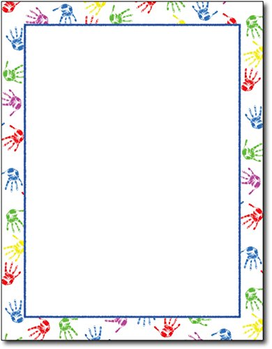 Baby Handprints Border Stationery Paper - 80 Sheets