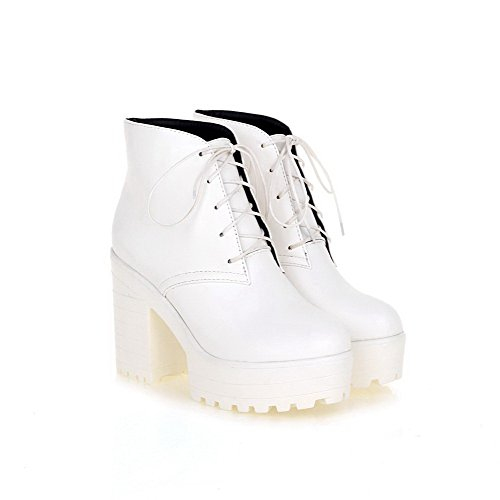 WeiPoot Womens Closed Round Toe High Heels PU Solid Boots with Platform and Chunky Heels, White, 7 B(M) US