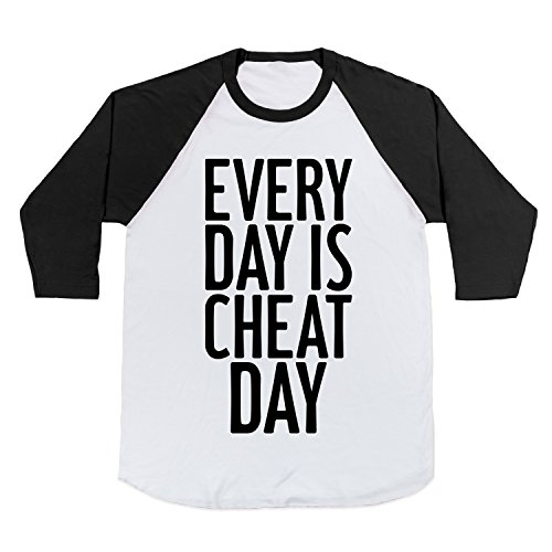 Cotton Every Day Is Cheat Day Baseball Tee T-Shirt (White/Black, XL)