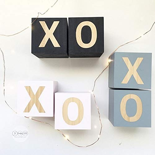 ZAMTAC D Wooden Xo Block(555cm) Decoration for Baby Room Decal Thing Baby Room Cute Decorative Baby Room Props Decoration Crafts - (Color: Grey)