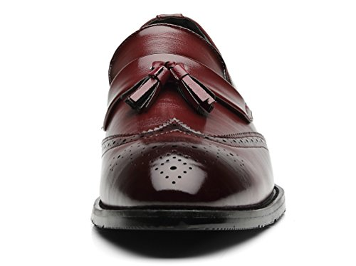 Driving Shoes Moccasins Leather Boat Loafers Red Slipper Casual Smoking Men's Pu Brogue Tassel Santimon vq81Zw7n