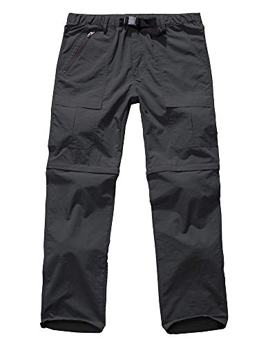 Men's Outdoor Anytime Quick Dry Convertible Lightweight Hiking Fishing Zip Off Cargo Work Pant #6062-Grey,42
