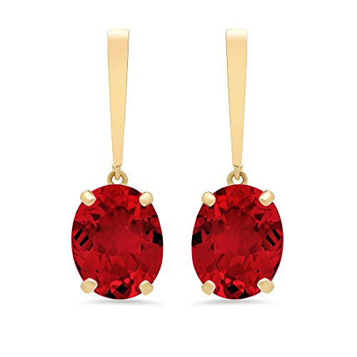 14k Yellow Gold Solitaire Oval-Cut Created Ruby Drop Earrings (10x8mm) ()