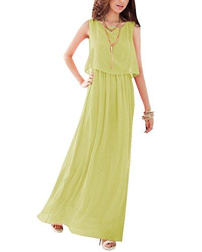 Maxi Vestido Largo Mujer Elegante Vestidos de Cóctel Sin Mangas Vestido de Noche Vestido de la Playa Manzana Verde