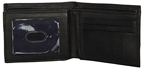 LEATHER OF INDIA Men's Leather Wallet Bi Fold - Soft Sheep Nappa With Side Flap 11.5 X 9 X 1 Cm Black by LEATHER OF INDIA (Image #4)