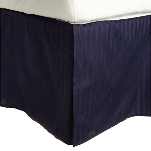 - Superior Combed Cotton 300 Thread Count Bed Skirt Stripe, Navy Blue, Queen