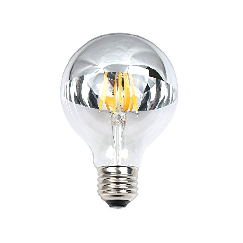 TOP YAO 4w G80 LED Filament Vintage Bulb with Mirror Half Chrome Silver Globe Shape Bulb Energy Saving 2700k Warm White Dimmable (Bulb Globe Chrome)