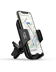 YOSH Samochodowy uchwyt na telefon wentylacyjny z regulowanym zaciskiem, obrót o 360° uchwyt na telefon do samochodu, uchwyt samochodowy do telefonu iPhone 13 12 11 pro max X XR 8 7 Plus Samsung S20 Ultra S20 Huawei P30 P20 Mate 20 itp.