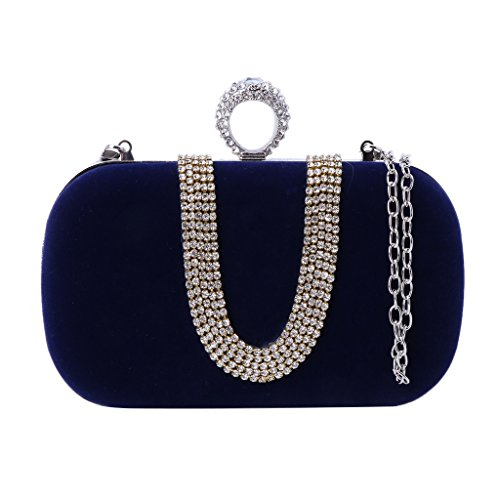 Bag Elegant Handbag Glitter Party Cosmetic Banquet Clutch Bridal Bag Purse Wedding Nankod Royal Blue Women Evening w5InvavFq