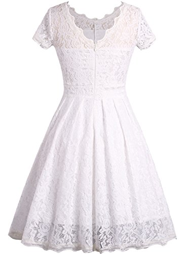 OWIN Women's Retro Floral Lace Cap Sleeve Vintage Swing Bridesmaid Dress (M, White)