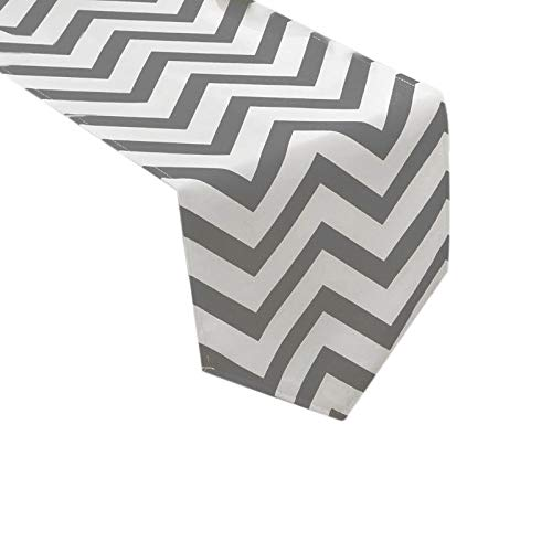 Uphome 1pc Classical Chevron Zig Zag Pattern Table Runner - Cotton Canvas Fabric Table Top Decoration, Grey and White by Uphome (Image #2)
