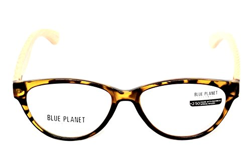 BLUE PLANET Reading Glasses Eco Friendly Women Sustainable Bamboo Ladies Designer Eyeglasses Honey Tortoise - Planet Blue Products
