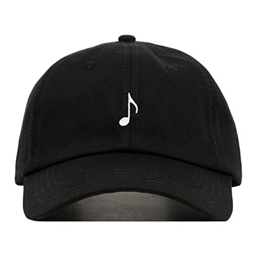 Music Note Baseball Hat, Embroidered Dad Cap, Unstructured Soft Cotton, Adjustable Strap Back (Multiple Colors) (Black) -