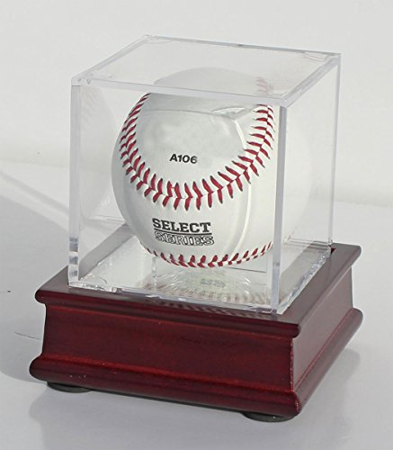 DisplayGifts Pro UV Baseball Display Case Holder and Wooden Stand