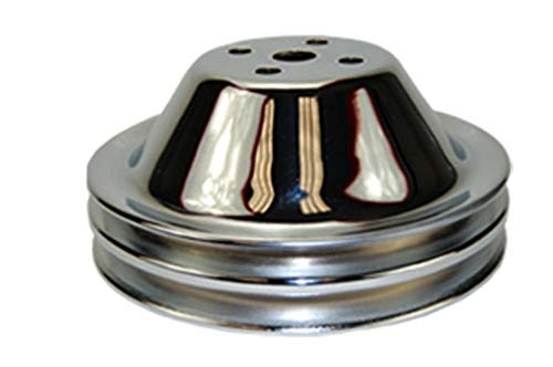 Pirate Mfg Sbc Chevy 283-350 Chrome Steel Smooth Swp Double Groove Water Pump Pulley ()