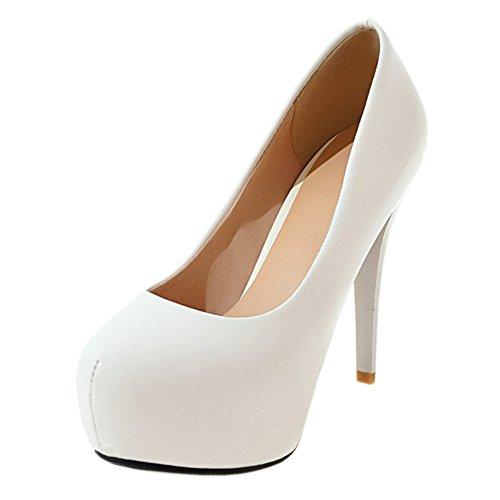 Coolcept Mujer Tacon Altos Pumps Zapatos Plataforma White