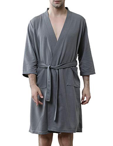 (DGGLIFE Men's Kimono Robes Lightweight Bathrobes Short Waffle Weave Knee Length Spa Summer Thin Soft Nightwear Sleepwear Grey)